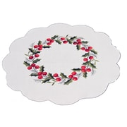 Xia Home Fashions Holly Berry Embroidered Hemstitch Round Holiday Doily (Set of 4)