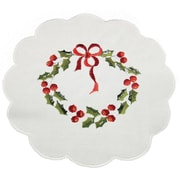 Xia Home Fashions Country Wreath Embroidered Hemstitch Round Holiday Doily (Set of 4)
