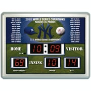 Team Sports America MLB ScoreBoard Wall Clock with Thermometer; New York Yankees