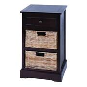 Woodland Imports Cabinet with 2 Wicker Baskets; Dark