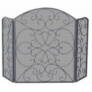 Uniflame 3 Panel Bronze Fireplace Screen w/ Ornate Design