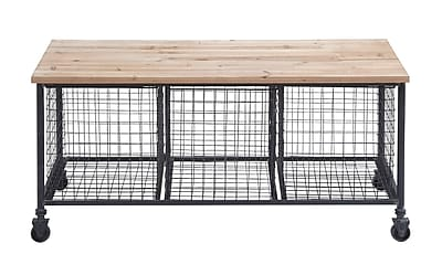 Woodland Imports Metal Storage Entryway Bench
