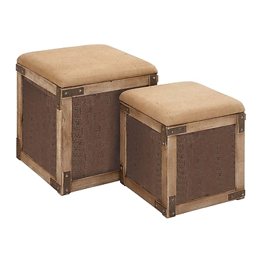 Woodland Imports Stool with Extra Storage Space (Set of 2)