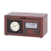 Woodland Imports Radio Attached Wood Cabinet with Antique Clock
