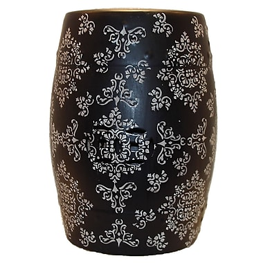 Urban Trends Ceramic Garden Stool; Black and White