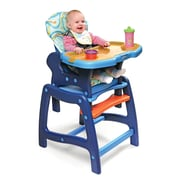 Badger Basket Envee High Chair with Play Table; Blue and Orange