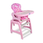 Badger Basket Envee High Chair with Play Table; Pink and White