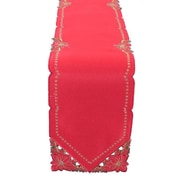 Xia Home Fashions Holiday Spirit Embroidered Cutwork Round Holiday Table Runner