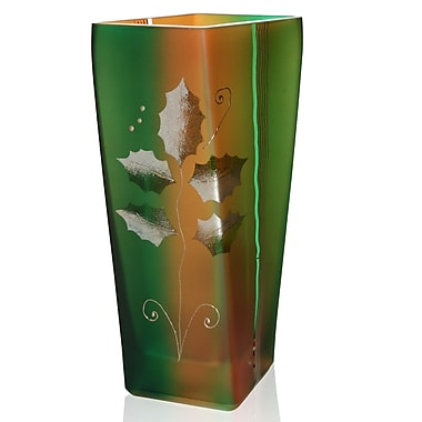 Womar Glass Holiday Square Vase; 11'' H x 6.5'' W x 3.75'' D