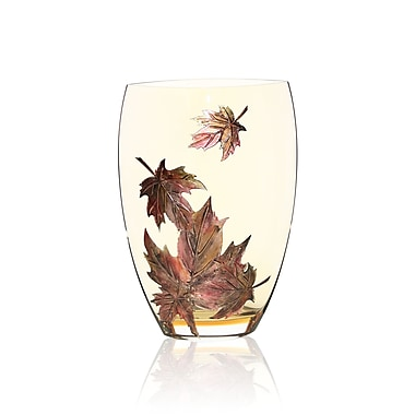 Womar Glass Hand Painted Glass Autumn Leaves Series II Vase; 12'' H x 8'' W x 5'' D