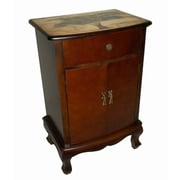 Cheungs Wooden Palm Tree Print 1 Drawer / Door Cabinet