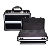 TZ Case Beauty Case with 3 Divided Sliding Trays & 6 Bottom Compartments; Black w/Silver Trim
