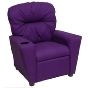 Brazil Furniture Home Theater Children's Cotton Recliner w/ Cup Holder; Solid Purple