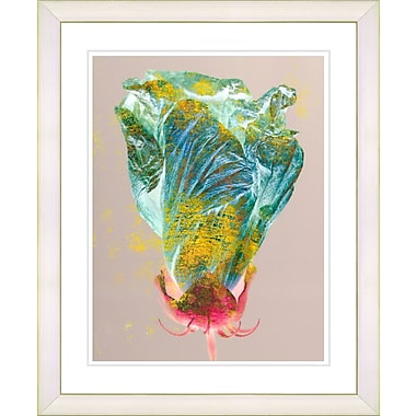 Studio Works Modern ''Green Flower Bud'' by Zhee Singer Framed Graphic Art in Blue; White