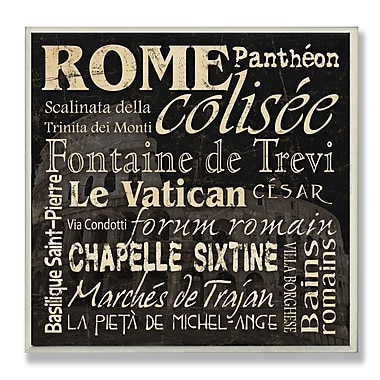 Stupell Industries Rome Landmarks Textual Art Wall Plaque