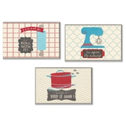 Stupell Industries Roll, Spin and Whip Kitchen Utility 3 Piece Textual Art Wall Plaque Set