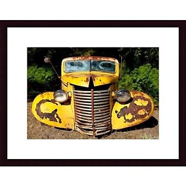 Printfinders Yellow Truck by John K. Nakata Framed Photographic Print; Black