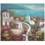 Oriental Furniture Hand Painted Riviera Cafe for Two Original Painting on Canvas