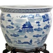 Oriental Furniture Landscape Vase; 15.5'' H x 18.75'' W x 18.75'' D