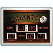 Team Sports America MLB ScoreBoard Wall Clock with Thermometer; San Francisco Giants
