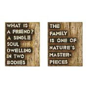 Woodland Imports Inspirational Friends and Family 2 Piece Textual Art Plaque Set