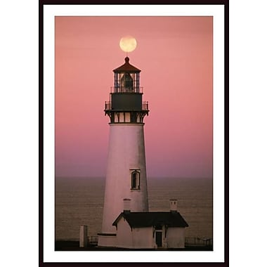 Printfinders 'Full Moon over Yaquina Head Light' by Craig Tuttle Framed Photographic Print