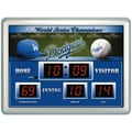 Team Sports America MLB Scoreboard Thermometer Wall Clock; Los Angeles Dodgers