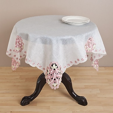 Saro Embroidered and Cutwork Table Topper; 54''