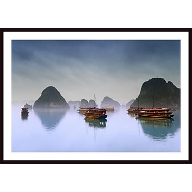 Printfinders 'Hotel Junks, Halong Bay, Vietnam' by Carson Ganci Framed Photographic Print