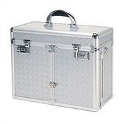 TZ Case Beauty Case with 2 Extendable Trays & Lid Brush Or Pencil Pockets; Silver