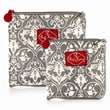 2 Red Hens Snack Bags Set; Grey Damask