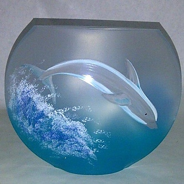 Womar Glass Dolphin Vase