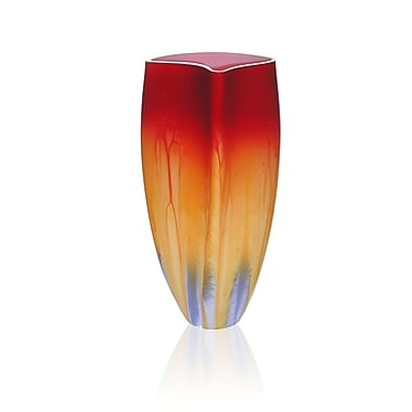 Womar Glass Hand Painted Glass 1950 Retro Series Vase; 12'' H x 6'' W x 7'' D