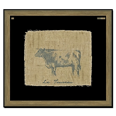 Melissa Van Hise Cow on Linen II Framed Graphic Art; Navy