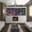 All My Walls Abstract by Ash Carl Metal Wall Art in Purple and Black - 23.5'' x 60''