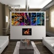 All My Walls Abstract by Ash Carl 3 Dimensional Holographic Wall Art in Black Multi - 23.5'' x 60''