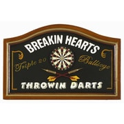RAM Game Room Breaking Hearts Throwing Darts Pub Framed Graphic Art