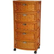 Oriental Furniture 5 Drawer Accent Chest; Honey