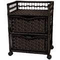 Oriental Furniture Natural Fiber 2 Drawer Chest; Black