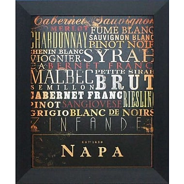 North American Art Napa Type by Stephen Fowler Framed Textual Art
