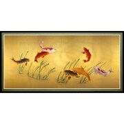 Oriental Furniture Seven Lucky Fish Framed Painting Print