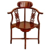 Oriental Furniture Corner Arm Chair; Honey