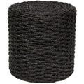 Oriental Furniture Rush Grass Knotwork Stool; Black