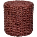 Oriental Furniture Rush Grass Knotwork Stool; Mahogany