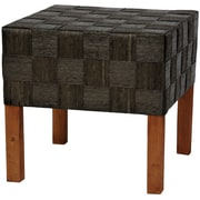 Oriental Furniture Woven Fiber Stool; Black