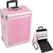 Sunrise Cases Interchangeable Professional Rolling Cosmetic Makeup Case; Pink Crocodile