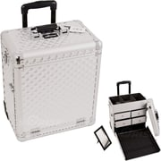 Sunrise Cases Diamond Pattern Interchangeable Professional Rolling Makeup Train Case; Silver