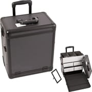 Sunrise Cases Dot Pattern Interchangeable Professional Rolling Makeup Train Case; Black