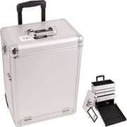 Sunrise Cases Interchangeable Professional Rolling Cosmetic Makeup Case; Silver Dot