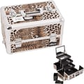 Sunrise Cases Leopard Pattern Interchangeable Professional Cosmetic Makeup Train Case